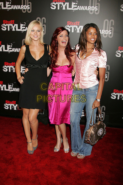 "ANYA MONZIKOVA, KASIE HEAD & CLAUDIA JORDAN.""The Stuff Style Awards"" hosted by Stuff Magazine held at The Arclight, Hollywood, California, USA..September 27th, 2006.Ref: ADM/RE.full length black pink dress satin top jeans denim.www.capitalpictures.com.sales@capitalpictures.com.©Russ Elliot/AdMedia/Capital Pictures."