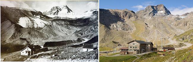 Stubaier Gletscher<br /> Links die Reproduktion eines Fotos des Stubaier Gletschers von ca. 1925/1930. Rechts der Gletscher im Jahre 2007. Durch Umwelteinfluesse schmilzt der Stubaier Gletscher rasant. Dies hat enorme Folgen fuer die Umwelt und den Ski-Tourismus in der Region.<br /> Vorne links, die Dresdner Huette des Deutschen Alpenvereins, DAV.<br /> 15.8.2007, Stubai-Tal/Oesterreich<br /> Copyright: Christian-Ditsch.de<br /> [Inhaltsveraendernde Manipulation des Fotos nur nach ausdruecklicher Genehmigung des Fotografen. Vereinbarungen ueber Abtretung von Persoenlichkeitsrechten/Model Release der abgebildeten Person/Personen liegen nicht vor. NO MODEL RELEASE! Nur fuer Redaktionelle Zwecke. Don't publish without copyright Christian-Ditsch.de, Veroeffentlichung nur mit Fotografennennung, sowie gegen Honorar, MwSt. und Beleg. Konto: I N G - D i B a, IBAN DE58500105175400192269, BIC INGDDEFFXXX, Kontakt: post@christian-ditsch.de<br /> Bei der Bearbeitung der Dateiinformationen darf die Urheberkennzeichnung in den EXIF- und  IPTC-Daten nicht entfernt werden, diese sind in digitalen Medien nach &sect;95c UrhG rechtlich geschuetzt. Der Urhebervermerk wird gemaess &sect;13 UrhG verlangt.]