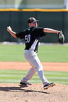 Tyler Matzek #50 of the Colorado Rockies pitches in a minor league spring training game against the Los Angeles Angels at the Rockies complex on March 28, 2011  in Scottsdale, Arizona. .Photo by:  Bill Mitchell/Four Seam Images.