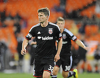 Washington D.C. - April 26, 2014: Bobby Boswell (32) of D.C. United celebrates his score in the 60th minute of the game.  D.C. United defeated the FC Dallas 4-1 during a Major League Soccer match for the 2014 season at RFK Stadium.