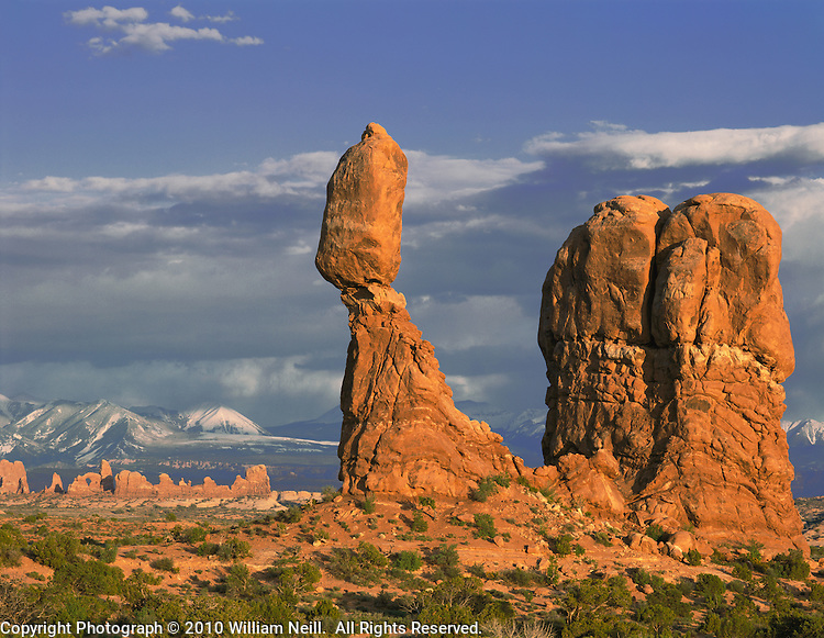 Balanced Rock, the Windows and the La Sal Mountains, sunset, Arches National Park, Utah