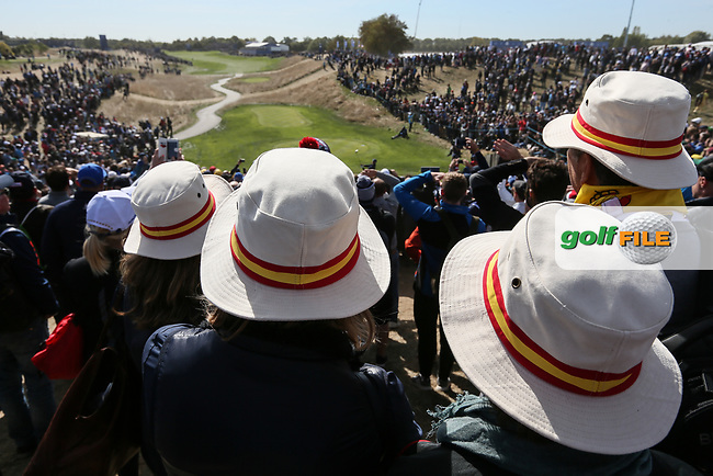 Spanish headwear during Saturday's Fourballs, at the Ryder Cup, Le Golf National, Île-de-France, France. 29/09/2018.<br /> Picture David Lloyd / Golffile.ie<br /> <br /> All photo usage must carry mandatory copyright credit (© Golffile | David Lloyd)
