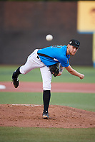 Hudson Valley Renegades starting pitcher Easton McGee (31) delivers a pitch during a game against the Tri-City ValleyCats on August 24, 2018 at Dutchess Stadium in Wappingers Falls, New York.  Hudson Valley defeated Tri-City 4-0.  (Mike Janes/Four Seam Images)