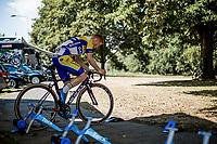 Milan Menten (BEL/Sport Vlaanderen Baloise) pre race warming up. <br /> <br /> Binckbank Tour 2018 (UCI World Tour)<br /> Stage 2: ITT Venray (NL) 12.7km