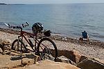 Cyclists on the Shining Sea bike path, Falmouth, Cape Cod, Massachusetts, USA