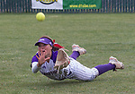 Spanish Springs right fielder Alysa Micone makes a diving attempt against Douglas in the NIAA 4A Northern Regional Softball Championship at Bishop Manogue High School in Reno, Nevada on Saturday, May 12, 2018.