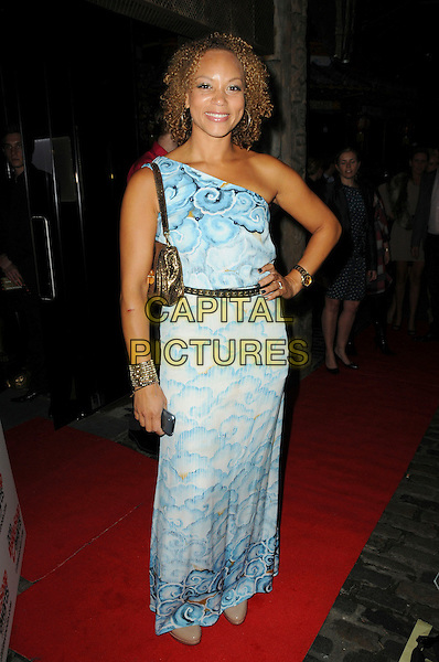 ANGELA GRIFFIN .Attending the Inside Soap Awards 2010 held at Shaka Zulu, Camden, London, England, UK, September 27th 2010 arrivals full length blue white print long maxi one shoulder dress hand on hip gold studded belt bag.CAP/CAS.©Bob Cass/Capital Pictures.