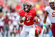 College Park, MD - SEPT 22, 2018: Maryland Terrapins running back Anthony McFarland (5) if off to the races for the first touchdown of the game for Maryland during game between Maryland and Minnesota at Capital One Field at Maryland Stadium in College Park, MD. The Terrapins defeated the Golden Bears 42-13 to move to 3-1 on the season. (Photo by Phil Peters/Media Images International)