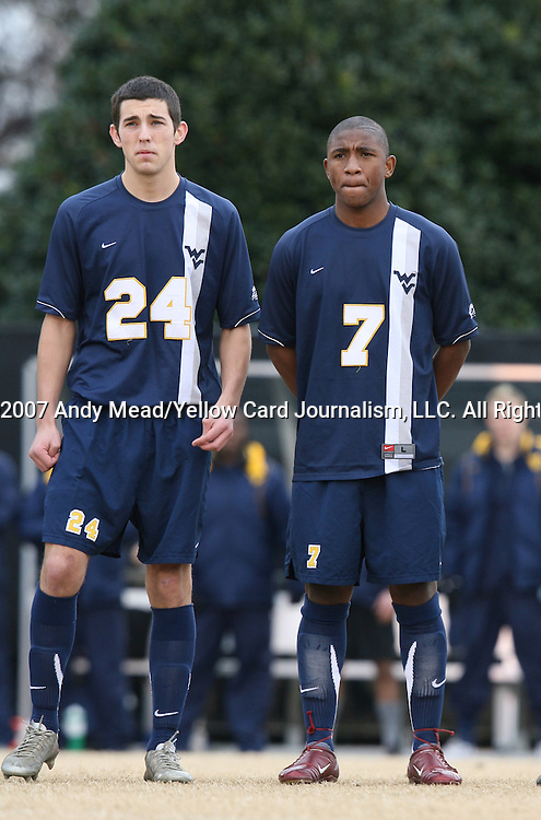02 December 2007: West Virginia's Dan Hagey (24) and Gift Maworere (ZIM) (7). The Wake Forest University Demon Deacons defeated the West Virginia University Mountaineers 3-1 at W. Dennie Spry Soccer Stadium in Winston-Salem, North Carolina in a Third Round NCAA Division I Mens Soccer Tournament game.