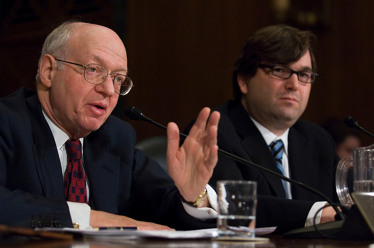 WASHINGTON, DC - Jan. 24: Martin Feldstein, professor at Harvard University and president and CEO of the National Bureau of Economic Research, and Jason Furman, director of the Hamilton Project, testify during the Senate Finance hearing on how to stimulate the economy. (Photo by Scott J. Ferrell/Congressional Quarterly)