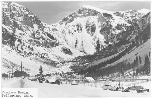 A view towards Pandora from east of Telluride in winter.<br /> Telluride, CO