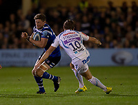 Bath Rugby's Rhys Priestland evades the tackle of Exeter Chiefs' Gareth Steenson<br /> <br /> Photographer Bob Bradford/CameraSport<br /> <br /> Gallagher Premiership - Bath Rugby v Exeter Chiefs - Friday 5th October 2018 - The Recreation Ground - Bath<br /> <br /> World Copyright &copy; 2018 CameraSport. All rights reserved. 43 Linden Ave. Countesthorpe. Leicester. England. LE8 5PG - Tel: +44 (0) 116 277 4147 - admin@camerasport.com - www.camerasport.com