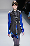 Milica Blagojevic walks the runway in a Nicole Miller Fall 2011 outfit, during Mercedes-Benz Fashion Week.