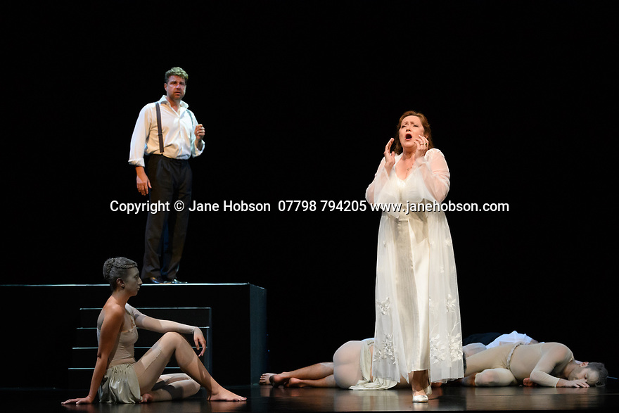 Edinburgh, UK. 08.08.2017. Budapest Festival Orchestra presents DON GIOVANNI, by Wolfgang Amadeus Mozart, at the Festival Theatre, as part of the Edinburgh International Festival. Ivan Fischer both conducts and directs his personal vision of Mozart's opera. The cast is: Christopher Maltman (Don Giovanni), Jose Fardilha (Leporello), Laura Aikin (Donna Anna), Lucy Crowe (Donna Elvira), Jeremy Ovenden (Don Ottavio), Kristinn Sigmundsson (Commendatore), Sylvia Schwartz (Zerlina), Matteo Peirone (Masetto). Picture shows: Jeremy Ovenden (Don Ottavio), Laura Aikin (Donna Anna). Photograph © Jane Hobson.