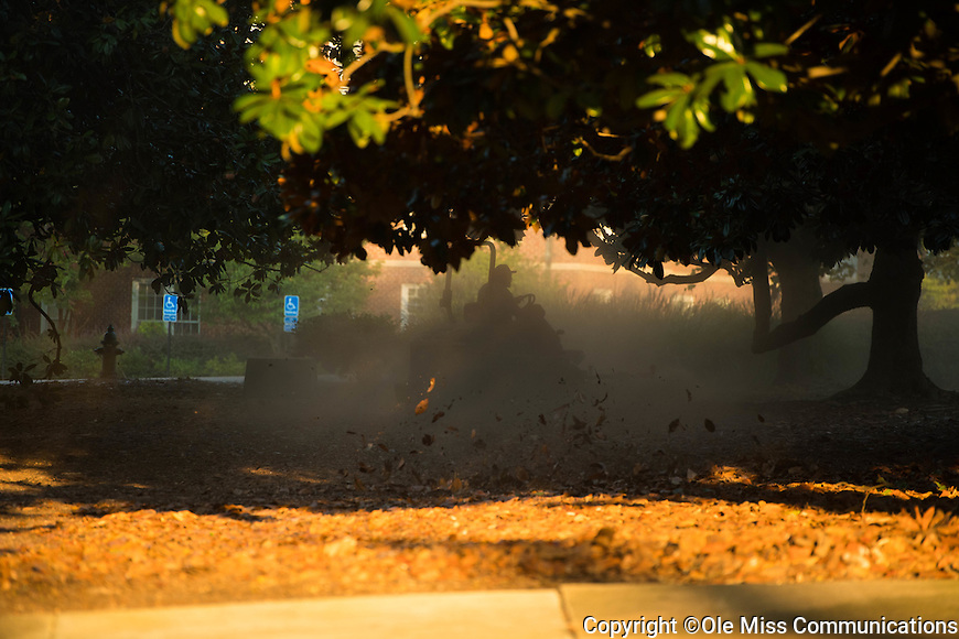 Landscape services doing a dusty job making an award winning campus look its best.  Photo by Kevin Bain/Ole Miss Communications