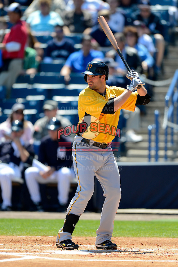 Pittsburgh Pirates second baseman Neil Walker #18 during a Spring Training game against the New York Yankees at Legends Field on March 28, 2013 in Tampa, Florida.  (Mike Janes/Four Seam Images)