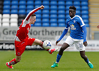 Fleetwood Town's Ashley Hunter controls while pressured by Peterborough United's Leo Da-Silva-Lopes<br /> <br /> Photographer David Shipman/CameraSport<br /> <br /> The EFL Sky Bet League One - Peterborough United v Fleetwood Town - Friday 14th April 2016 - ABAX Stadium  - Peterborough<br /> <br /> World Copyright &copy; 2017 CameraSport. All rights reserved. 43 Linden Ave. Countesthorpe. Leicester. England. LE8 5PG - Tel: +44 (0) 116 277 4147 - admin@camerasport.com - www.camerasport.com