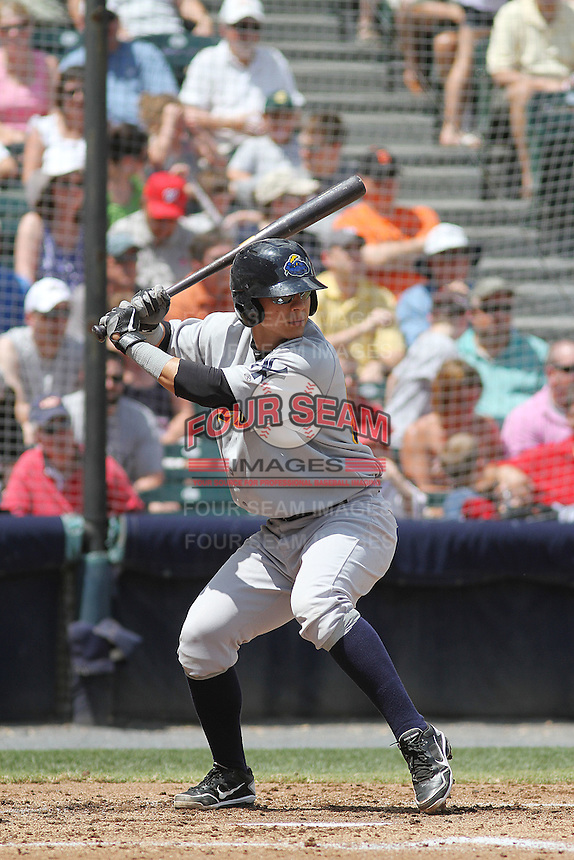 Trenton Thunder catcher Jose Gil #55 at bat during a game against the Richmond Flying Squirrels at The Diamond on May 27, 2012 in Richmond, Virginia. Richmond defeated Trenton by the score of 5-2. (Robert Gurganus/Four Seam Images)