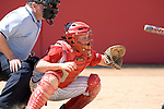 MADISON, WI - APRIL 16: Catcher Joey Daniels #3 of the Wisconsin Badgers softball prepares to catch the ball against the Indiana Hoosiers at Goodman Diamond on April 16, 2007 in Madison, Wisconsin. (Photo by David Stluka)