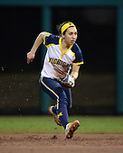 Michigan Wolverines Softball infielder Abby Ramirez (1) during a game against the University of South Florida Bulls on February 8, 2014 at the USF Softball Stadium in Tampa, Florida.  Michigan defeated USF 3-2.  (Copyright Mike Janes Photography)