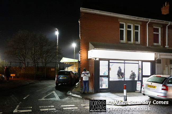 Blyth fans stop for fish and chips outside Croft Park. Blyth Spartans v Brackley Town, 30112019. Croft Park, National League North. Photo by Paul Thompson.