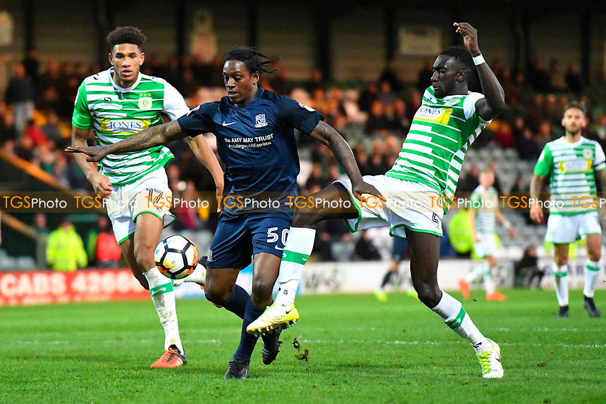 Nile Ranger of Southend United (c) takes on Omar Sowunmi  and Bevis Mugabi of Yeovil Town  during Yeovil Town vs Southend United, Emirates FA Cup Football at Huish Park on 4th November 2017
