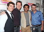 Omar Lopez-Cepero, Adam Monley, Corbin Bleu and Jeremy Kushnier.backstage at the New York Musical Theatre Festival at the NYMF Hub in Times Square, New York on 7/3/2012.
