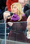 Kelly Clarkson sings after United States President Barack Obama took the oath of office during the public swearing-in ceremony at the U.S. Capitol in Washington, D.C. on Monday, January 21, 2013..Credit: Ron Sachs / CNP.(RESTRICTION: NO New York or New Jersey Newspapers or newspapers within a 75 mile radius of New York City)