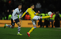 Leeds United's Pablo Hernandez clears despite the attentions of Preston North End's Josh Earl<br /> <br /> Photographer Kevin Barnes/CameraSport<br /> <br /> The EFL Sky Bet Championship - Preston North End v Leeds United -Tuesday 9th April 2019 - Deepdale Stadium - Preston<br /> <br /> World Copyright &copy; 2019 CameraSport. All rights reserved. 43 Linden Ave. Countesthorpe. Leicester. England. LE8 5PG - Tel: +44 (0) 116 277 4147 - admin@camerasport.com - www.camerasport.com
