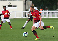 James Wilson of Manchester United U23's in action during Fulham Under-23 vs Manchester United Under-23, Premier League 2 Football at Motspur Park on 10th August 2018