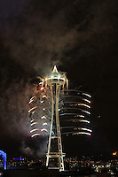 New Years fireworks at the Space Needle in Seattle, Washington