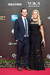 Natalie Gulbis and her husband Joshua walk the Red Carpet event at the World Celebrity Pro-Am 2016 Mission Hills China Golf Tournament on 20 October 2016, in Haikou, China. Photo by Weixiang Lim / Power Sport Images