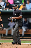Home plate umpire J.J. January during a game between the Pensacola Blue Wahoos and Jacksonville Suns on April 20, 2014 at Bragan Field in Jacksonville, Florida.  Jacksonville defeated Pensacola 5-4.  (Mike Janes/Four Seam Images)