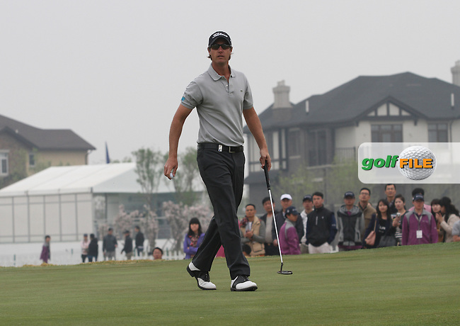 Nicolas Colsaerts (BEL) on the 18th on Day 3 of the 2012 Volvo China Open at Binhai Lake Golf Club, Tianjin, China...(Photo Jenny Matthews/www.golffile.ie)