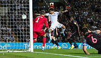Leeds United's Helder Costa scores his side's equalising goal to make the score 2-2<br /> <br /> Photographer Alex Dodd/CameraSport<br /> <br /> The Carabao Cup Second Round- Leeds United v Stoke City - Tuesday 27th August 2019  - Elland Road - Leeds<br />  <br /> World Copyright © 2019 CameraSport. All rights reserved. 43 Linden Ave. Countesthorpe. Leicester. England. LE8 5PG - Tel: +44 (0) 116 277 4147 - admin@camerasport.com - www.camerasport.com