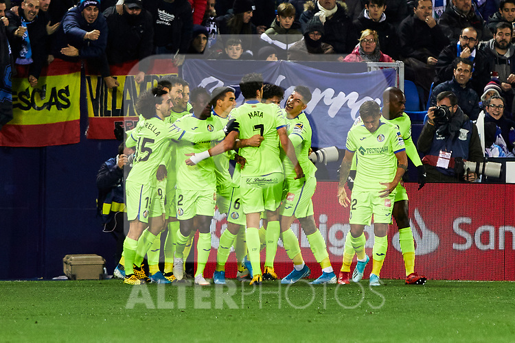 Players of CD Leganes celebrate goal during La Liga match between CD Leganes and Getafe CF at Butarque Stadium in Leganes, Spain. January 17, 2020. (ALTERPHOTOS/A. Perez Meca)