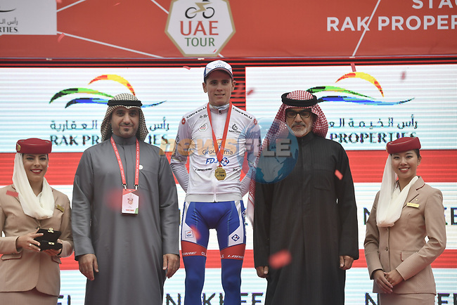 David Gaudu (FRA) Groupama-FDJ retains the White Jersey at the end of Stage 6 and retains the Red Jersey of the 2019 UAE Tour, running 175km form Ajman to Jebel Jais, Dubai, United Arab Emirates. 1st March 2019.<br /> Picture: LaPresse/Fabio Ferrari | Cyclefile<br /> <br /> <br /> All photos usage must carry mandatory copyright credit (© Cyclefile | LaPresse/Fabio Ferrari)