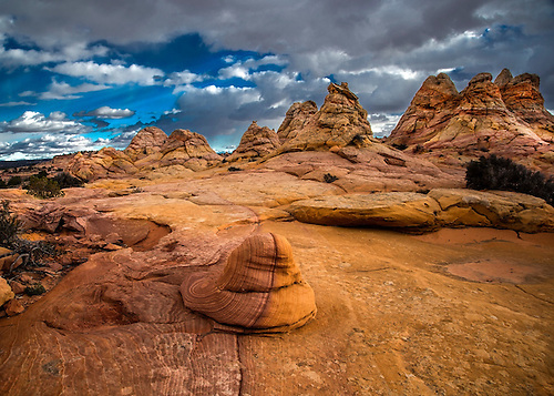 Unusual sandstone formations produced by erosion are evident at South Coyote Buttes at The Paria Vermillion Cliffs National Monument, Arizona