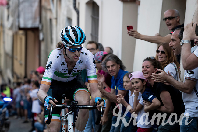 Irish Champion & longest man in the pro peloton (at 2,04m) Conor Dunne (IRL/Israel Cycling Academy) cheered on up the steep, cobbled & crowded climb in Pinerolo<br /> <br /> Stage 12: Cuneo to Pinerolo (158km)<br /> 102nd Giro d'Italia 2019<br /> <br /> ©kramon