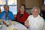 Marian Fay, Peg Farrell and Cathleen Bannon.having there christmas dinner int he Dermot Kierans Centre..Picture Fran Caffrey/www.newsfile.ie.