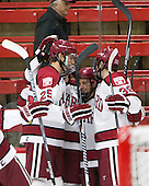 Wiley Sherman (Harvard - 25), Kyle Criscuolo (Harvard - 11), Brian Hart (Harvard - 39) - The Harvard University Crimson defeated the Brown University Bears 4-3 to sweep their first round match up in the ECAC playoffs on Saturday, March 7, 2015, at Bright-Landry Hockey Center in Cambridge, Massachusetts.