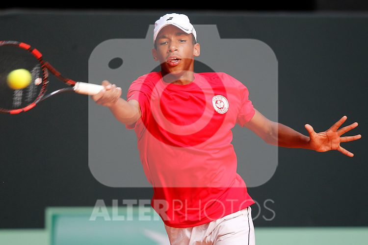 Canada's Felix Auger Aliassime during Junior Davis Cup 2015 Semifinal match. October 2, 2015.(ALTERPHOTOS/Acero)