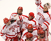 Shane Switzer (BU - 2), Nikolas Olsson (BU - 13), Connor Lacouvee (BU - 30), Gabriel Chabot (BU - 10), Max Prawdzik (BU - 1) The Boston University Terriers defeated the visiting Yale University Bulldogs 5-2 on Tuesday, December 13, 2016, at the Agganis Arena in Boston, Massachusetts.