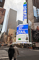 A digital display on Seventh Avenue in Times Square advertises the retail opportunities in a new project that await lease signers on Thursday, February 16, 2017. (© Richard B. Levine)