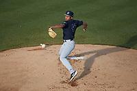 Pulaski Yankees starting pitcher Randy Vasquez (47) in action against the Burlington Royals at Burlington Athletic Stadium on August 25, 2019 in Burlington, North Carolina. The Yankees defeated the Royals 3-0. (Brian Westerholt/Four Seam Images)