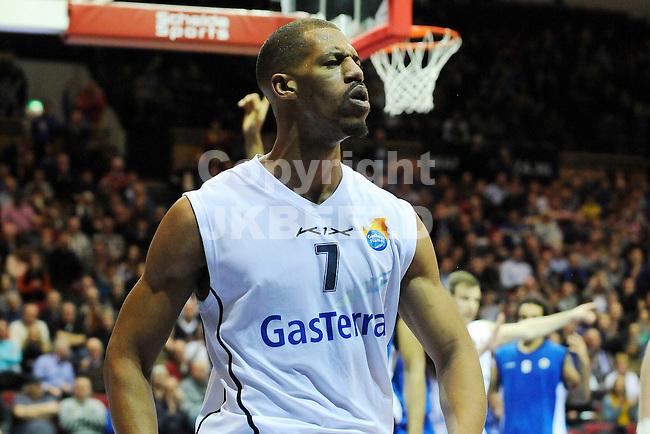 GRONINGEN - Basketbal, Flames - Aris Leeuwarden, Dutch Basketbal League, Martiiniplaza, seizoen 2012-2013, 26-02-2013, Flames speler Jamal Boykin
