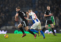 Burnley's Charlie Taylor (left) under pressure from Brighton &amp; Hove Albion's Anthony Knockaert (right) <br /> <br /> Photographer David Horton/CameraSport<br /> <br /> The Premier League - Brighton and Hove Albion v Burnley - Saturday 9th February 2019 - The Amex Stadium - Brighton<br /> <br /> World Copyright &copy; 2019 CameraSport. All rights reserved. 43 Linden Ave. Countesthorpe. Leicester. England. LE8 5PG - Tel: +44 (0) 116 277 4147 - admin@camerasport.com - www.camerasport.com