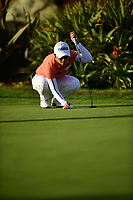 The 2018 Kia Classic Champion Eun-Hee Ji (KOR) lines up a putt on the 18th green during the Final Round at the Kia Classic,Park Hyatt Aviara Resort, Golf Club &amp; Spa, Carlsbad, California, USA. 3/25/18.<br /> Picture: Golffile | Bruce Sherwood<br /> <br /> <br /> All photo usage must carry mandatory copyright credit (&copy; Golffile | Bruce Sherwood)