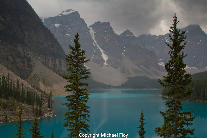 Moraine Lake, features crystal clear blue-green water and is located minutes from Lake Louise in Banff National Park.