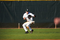 Dartmouth Big Green center fielder Trevor Johnson (36) fields a hit during a game against the St. Bonaventure Bonnies on February 25, 2017 at North Charlotte Regional Park in Port Charlotte, Florida.  St. Bonaventure defeated Dartmouth 8-7.  (Mike Janes/Four Seam Images)